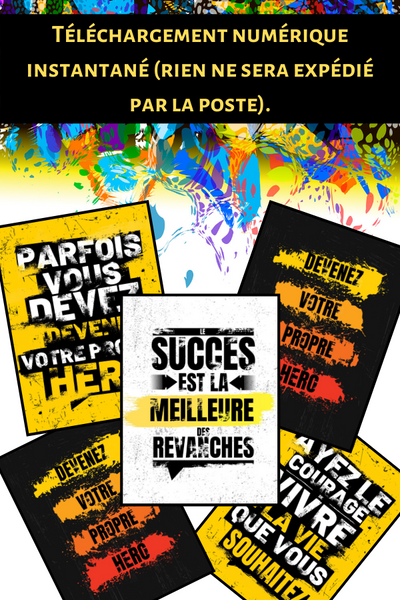 Affiches murales (citations motivation/positivité) à imprimer