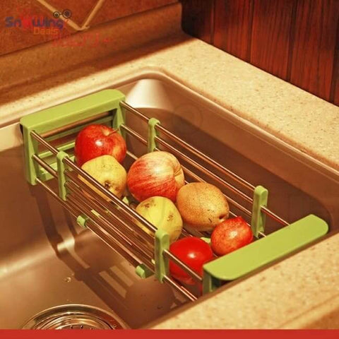 Dish Drying Rack with Drainer - Green Rack in Sink