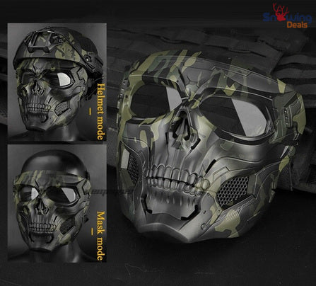 Snowing Deals - Tactical Paintball Skull Mask - Green - Modes