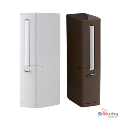 The Best Deals Online - MultiFunction Waste Bin Toilet Brush - Coffee & White Color