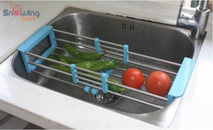 Dish Drying Rack with Drainer - Blue Rack in Sink