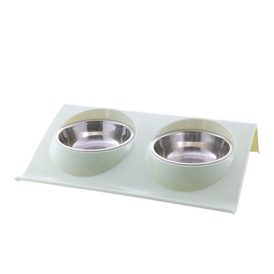 Pet Double Bowls Food Water Feeder Stainless Steel