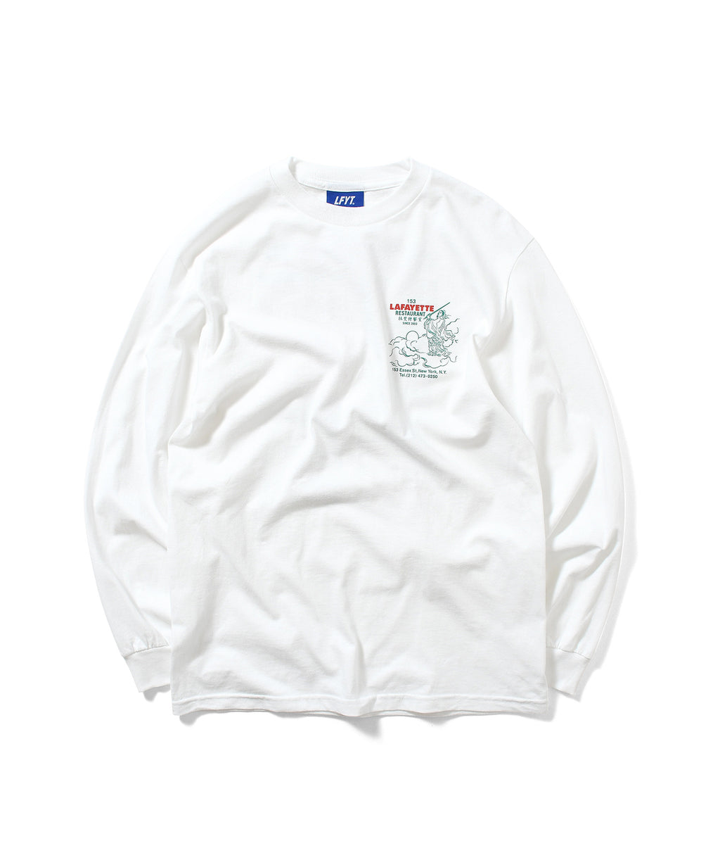 CHINA TOWN MENU L/S TEE WHITE LA200117