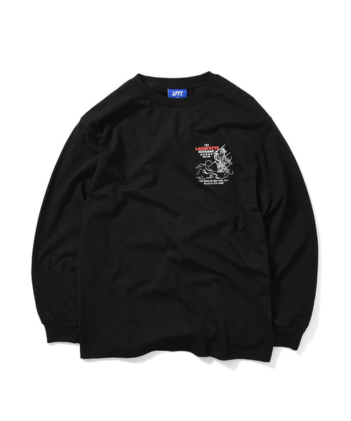 CHINA TOWN MENU L/S TEE BLACK LA200117
