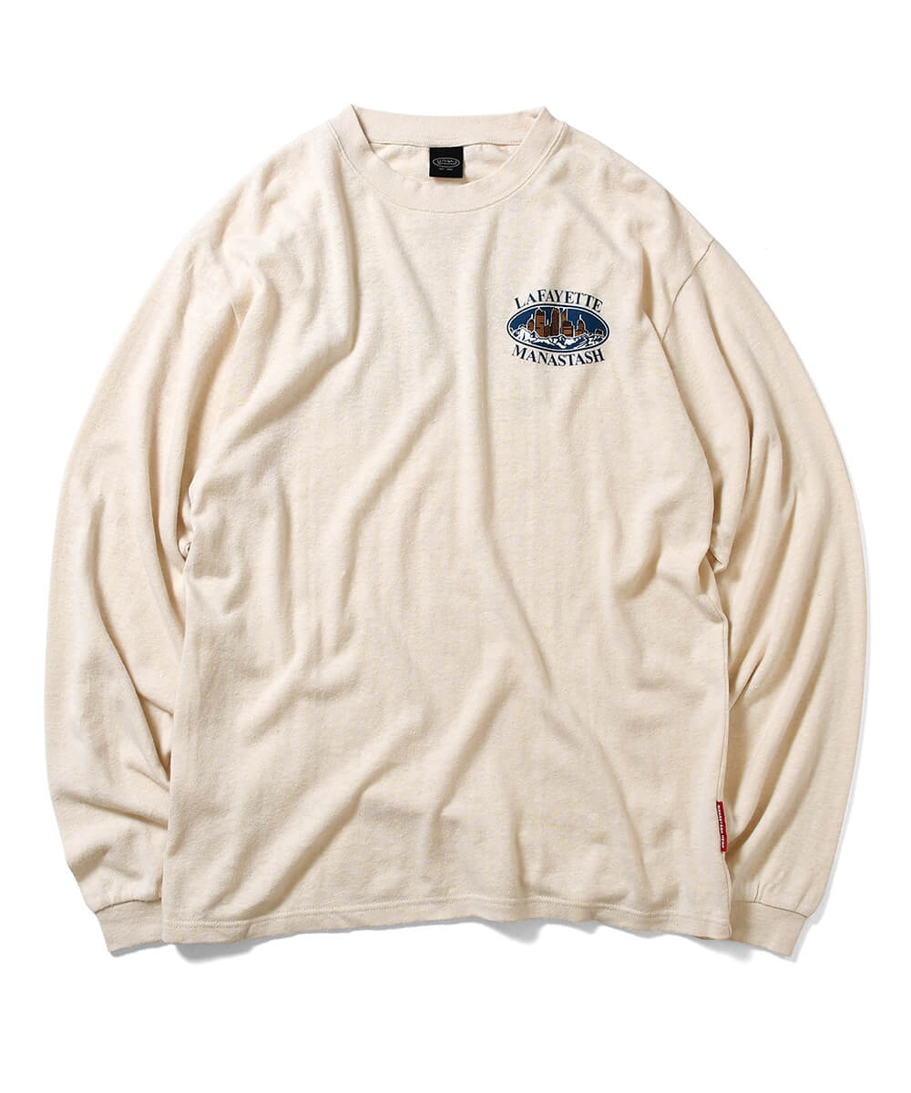 MANASTASH x LFYT MOUNTAIN RIDGE CITY SCAPE L/S TEE NATURAL LE200115