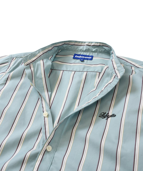 Lafayette ALTERNATE STRIPE BAND COLLAR SHIRT LS200201 LIGHT BLUE