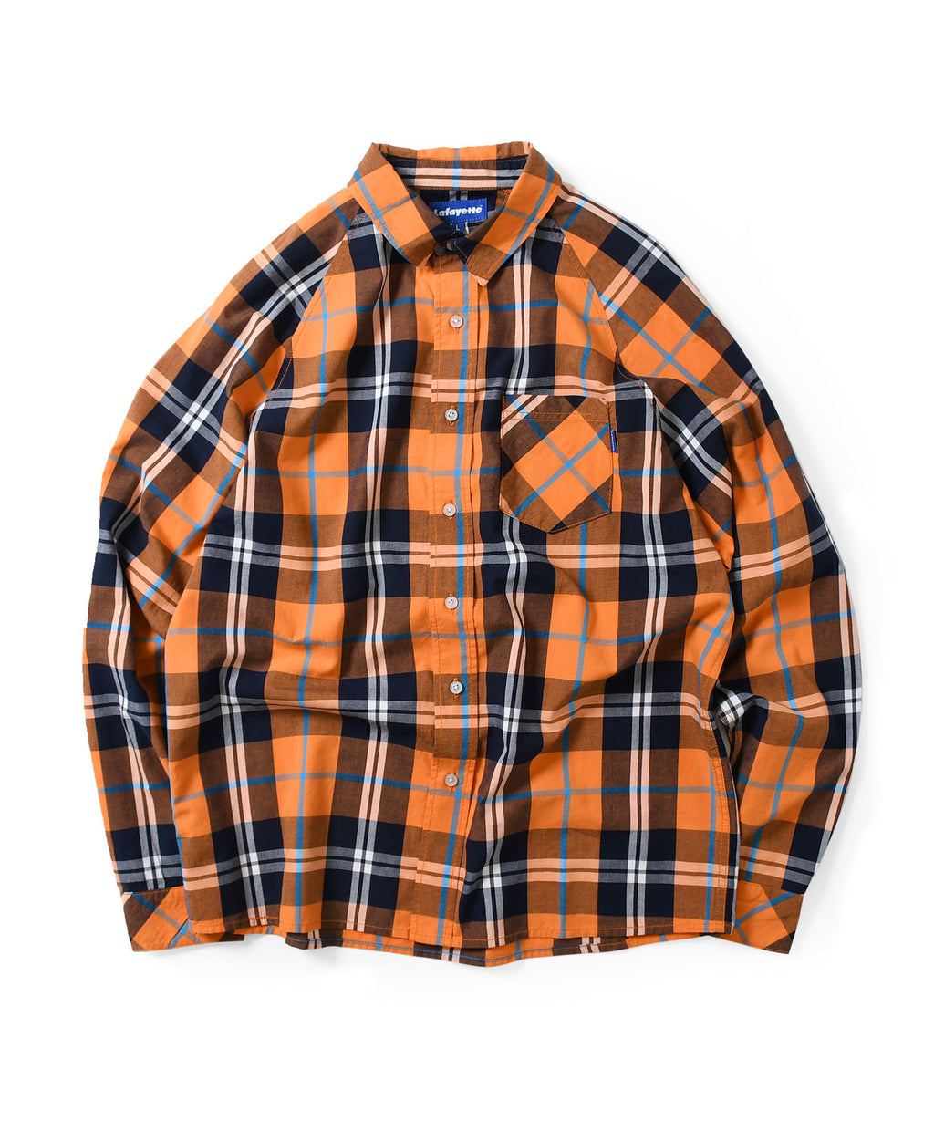 Lafayette RAGLAN PLAID L/S SHIRT LS200203 ORANGE