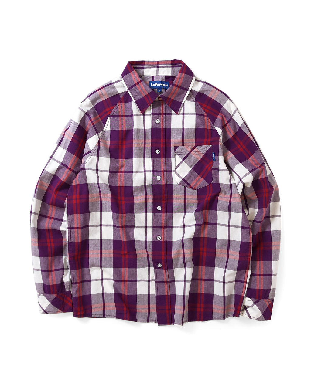 Lafayette RAGLAN PLAID L/S SHIRT LS200203 PURPLE
