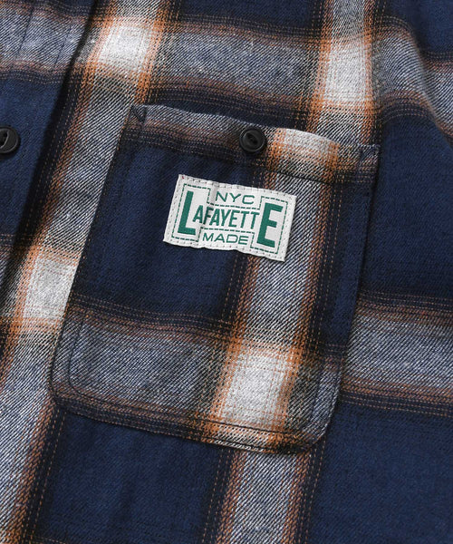 WORKES OMBRE FLANNEL SHIRT NAVY LA200202