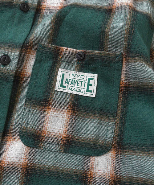 WORKES OMBRE FLANNEL SHIRT GREEN LA200202