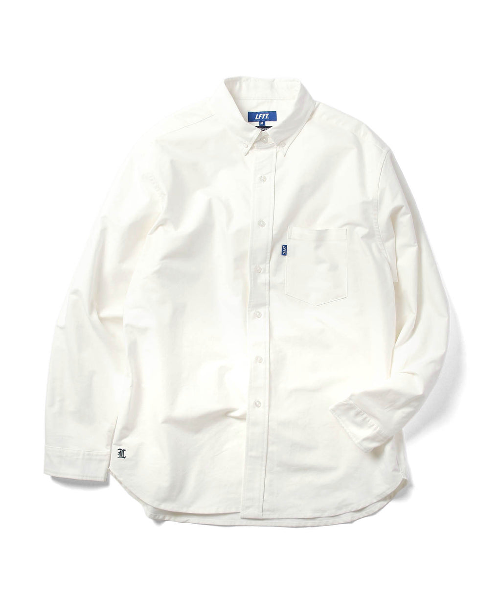 L LOGO BIG SILHOUTTE OXFORD SHIRT LS210201 WHITE