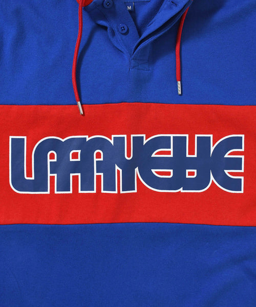 CLASSIC LOGO HOODED RUGBY JERSEY BLUE LA200301