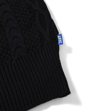 COTTON CABLE KNIT SWEATER BLACK LA200401