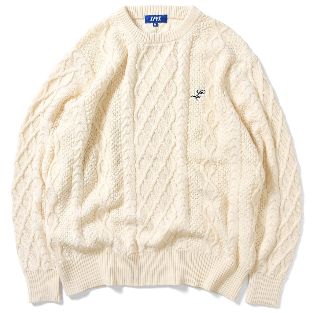 COTTON CABLE KNIT SWEATER NATURAL LA200401