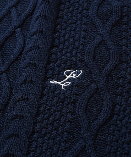 COTTON CABLE KNIT SWEATER NAVY LA200401