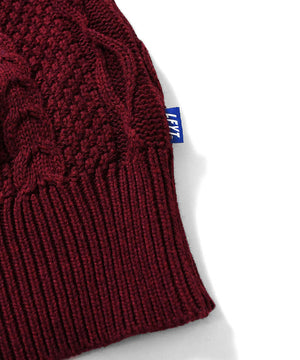 COTTON CABLE KNIT SWEATER BURGUNDY LA200401