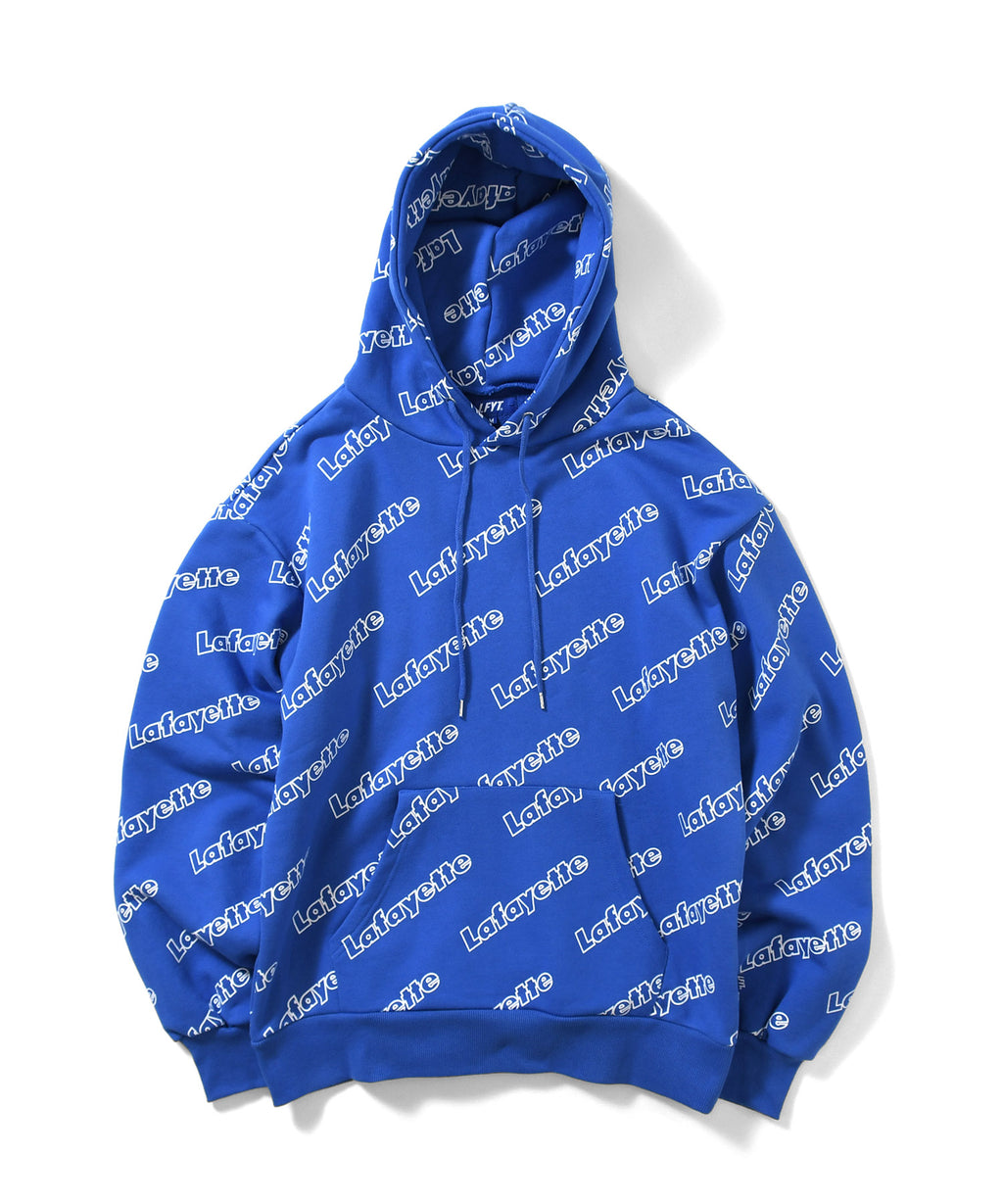 OUTLINE LOGO ALLOVER HOODED SWEATSHIRT BLUE LA200501