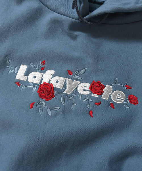 ROSE LOGO US COTTON HOODED SWEATSHIRT LE210501 SLATE BLUE