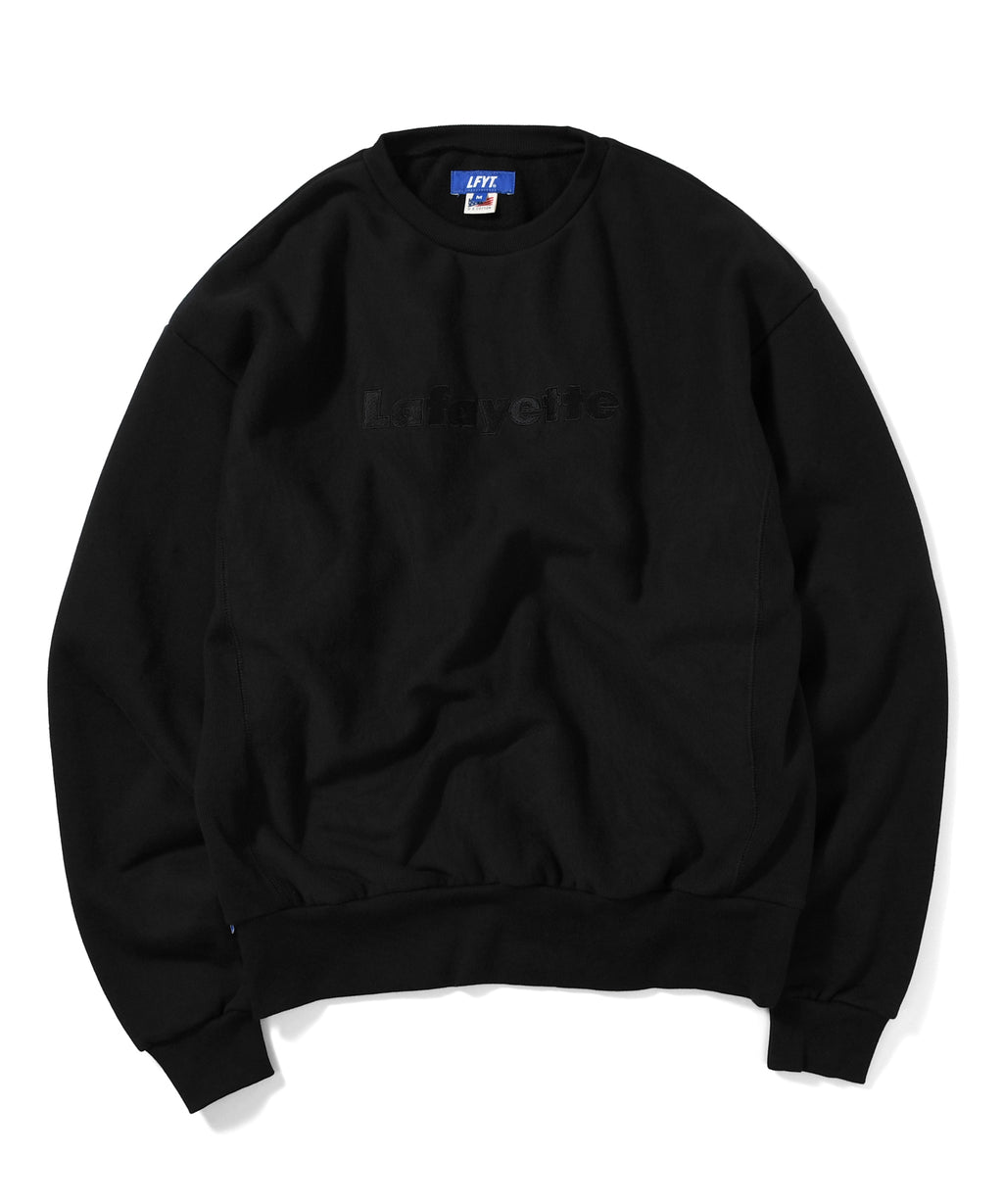 TONAL LOGO US COTTON CREWNECK SWEATSHIRT BLACK LA200702