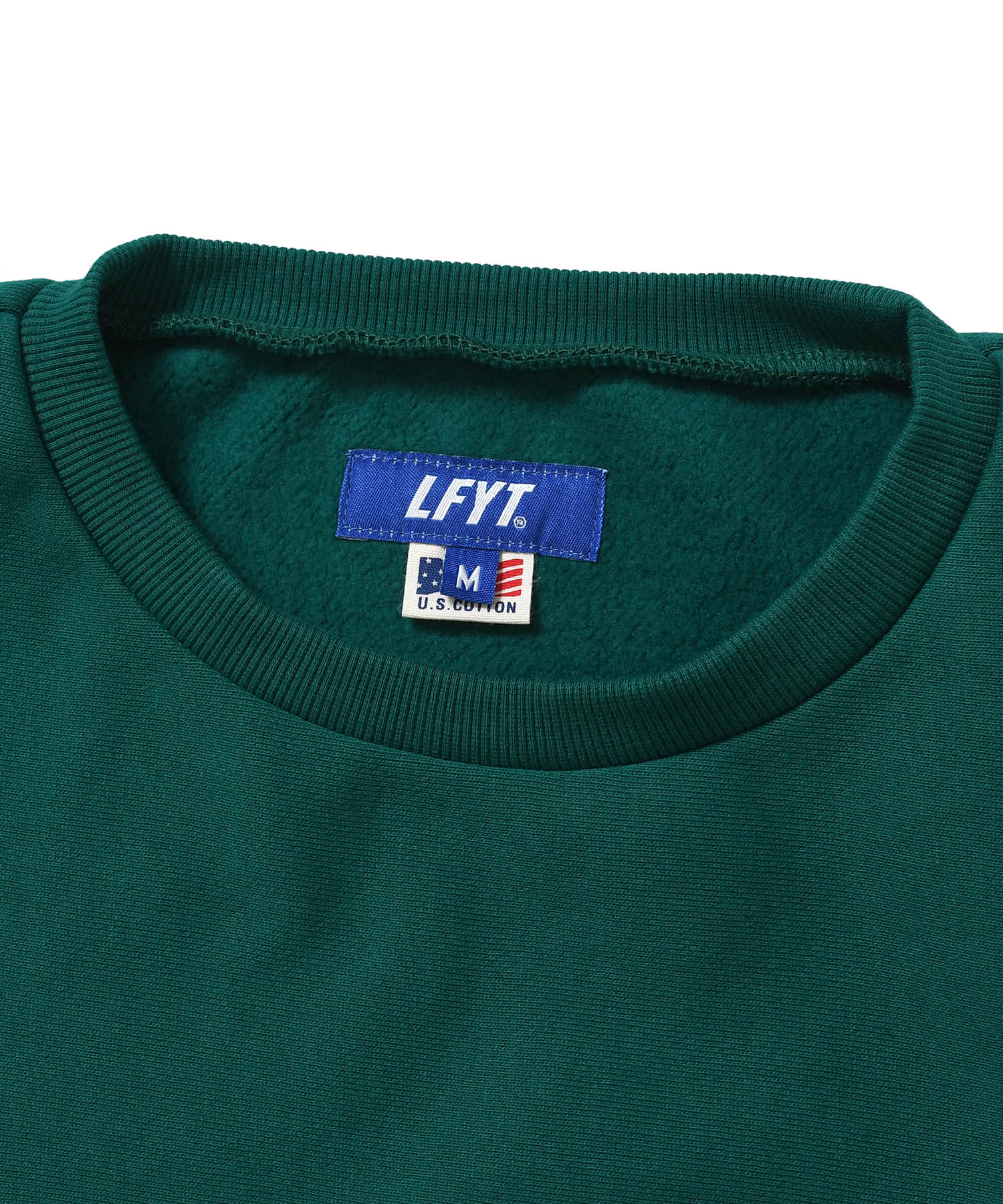 TONAL LOGO US COTTON CREWNECK SWEATSHIRT GREEN LA200702