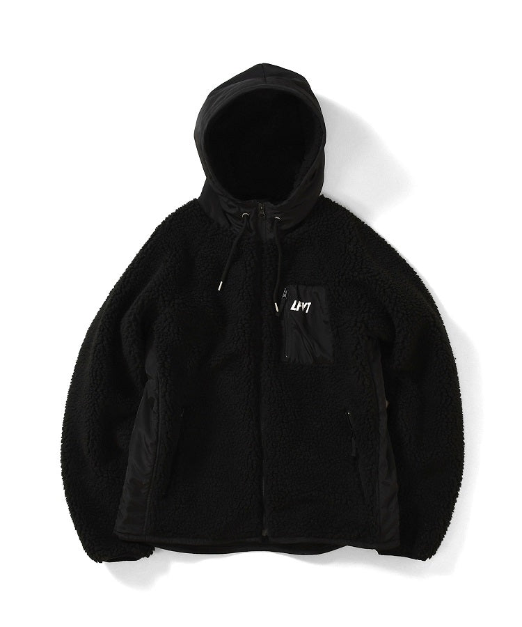 SHERPA FLEECE ZIP PARKA LA201012 BLACK