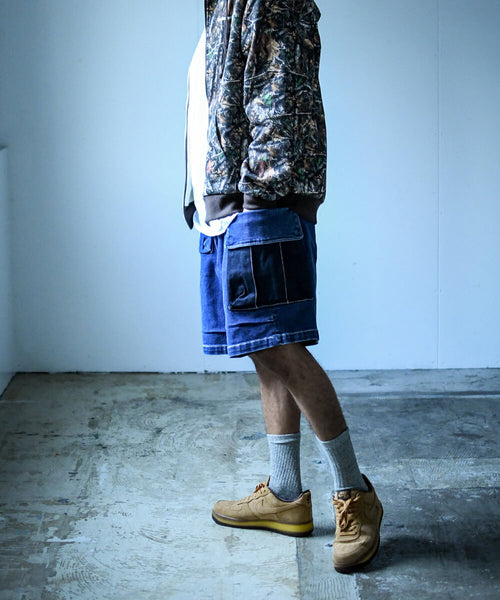 LFYT X LAKH DENIM 10 POCKETS CARGO SHORTS LE201301 BLUE
