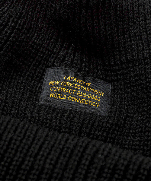 MILITARY LABEL BEANIE BLACK LA201409
