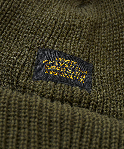MILITARY LABEL BEANIE OLIVE LA201409