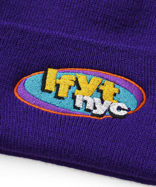 NY RADIO LONG BEANIE PURPLE LA201411