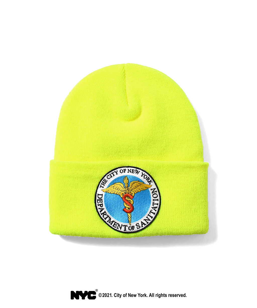 LFYT X DSNY COMMUNITY SERVICES LONG BEANIE LS211404 SAFETY GREEN
