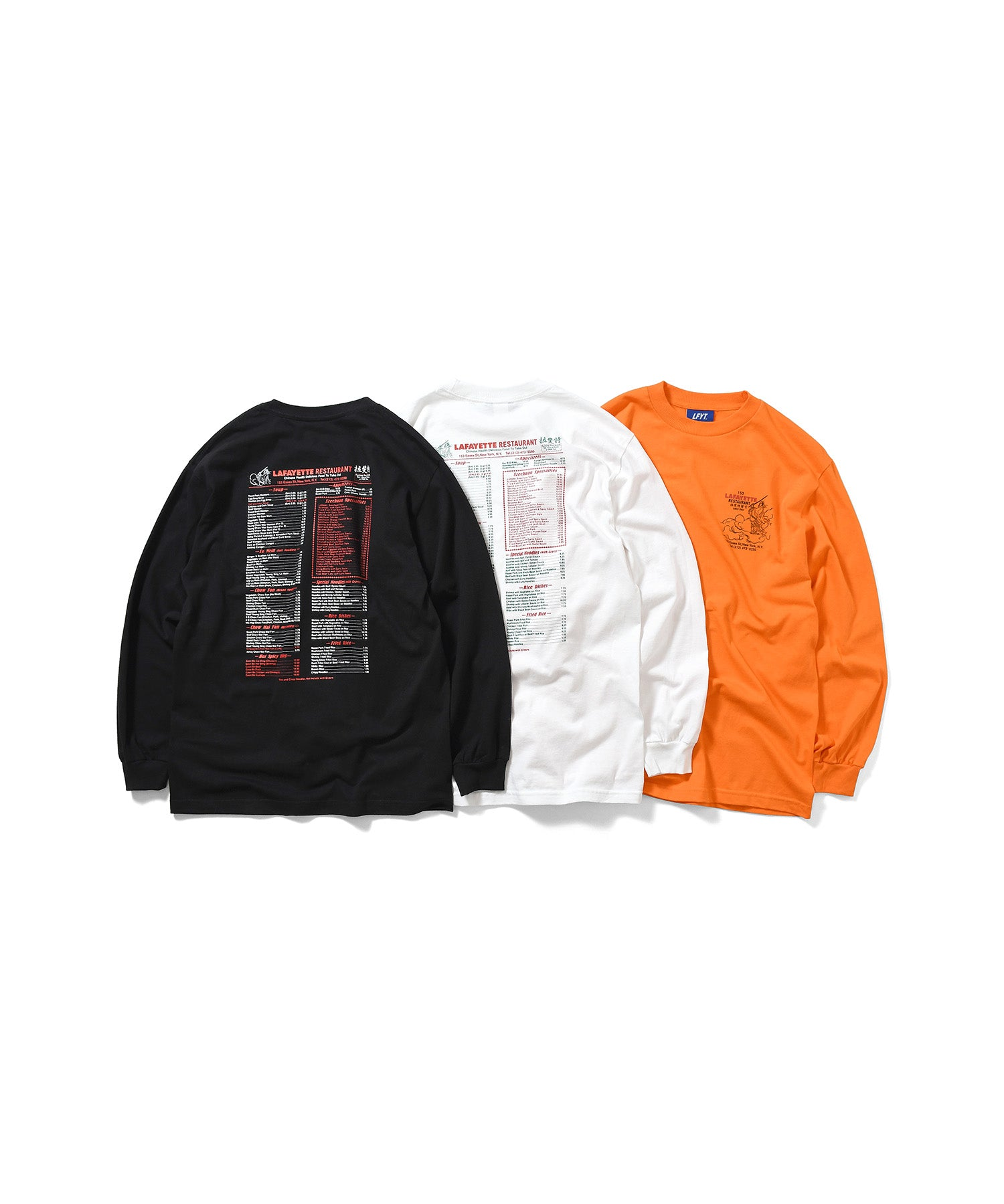 CHINA TOWN MENU L/S TEE ORANGE LA200117