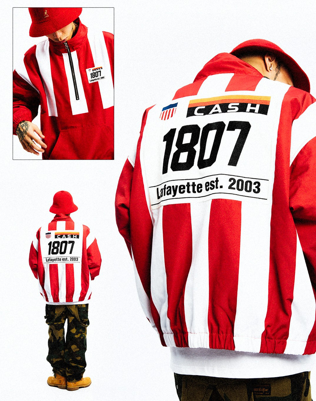 LFYT X 1807 X CASH X T.ERIC STUDIUM ANORAK JACKET RED LE201003