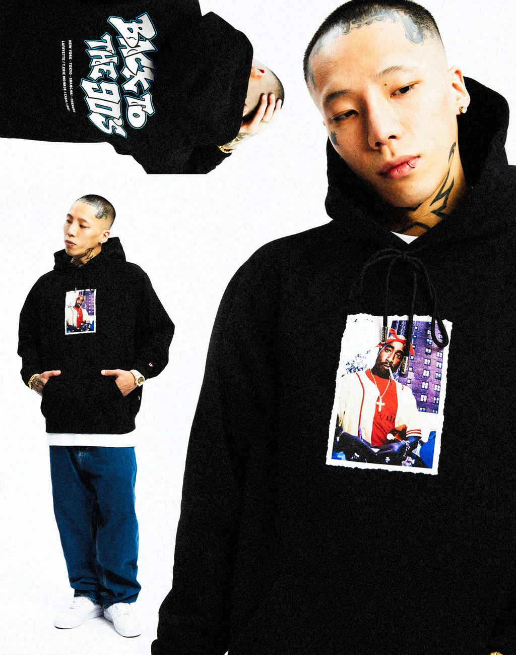 LFYT X 1807 X CASH X T.ERIC TUPACK PULLOVER HOODIE BLACK LE200505