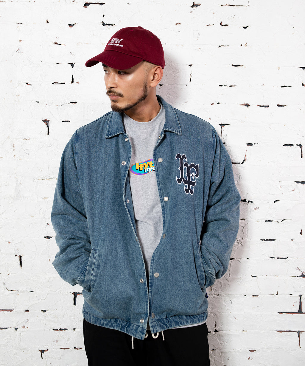 LF LOGO WASHED DENIM COACH JACKET BLUE LA201003