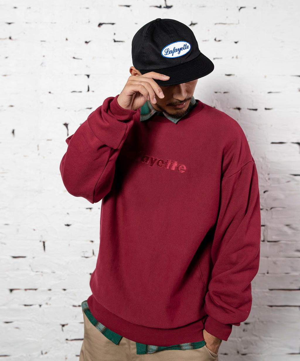 TONAL LOGO US COTTON CREWNECK SWEATSHIRT BURGUNDY LA200702