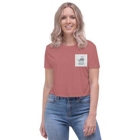 Customizable Women's Embroidered Flowy Crop Tee | Bella + Canvas 8882