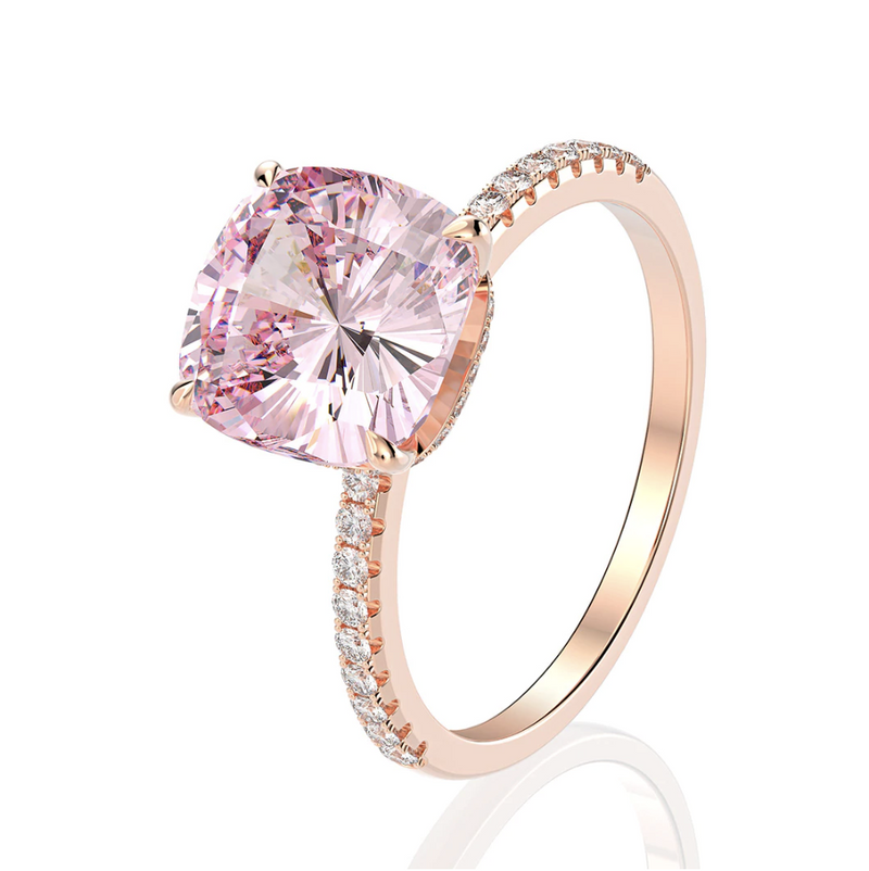 Love Cushion-Cut Rose Gold Ring