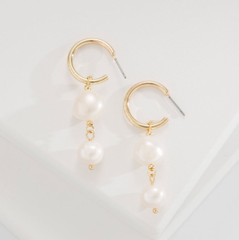 Pearl Drop Gold Earrings