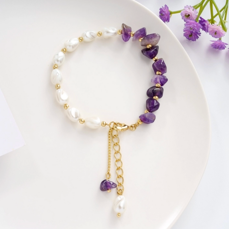 Stress Relief Amethyst Pearl Bracelet & Earrings