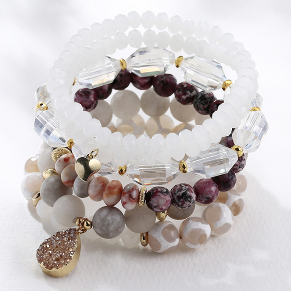 Bead Bracelet White Gold Crystal Gem