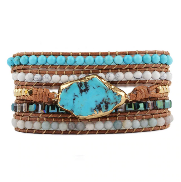 Strength Turquoise Leather Bracelet