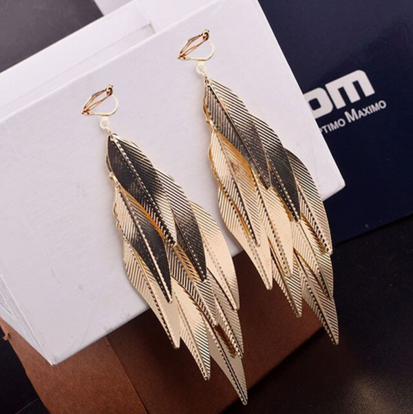 Metal Feather Earrings