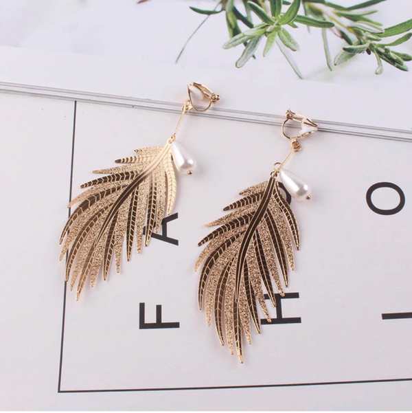 Pearl Feather Earrings