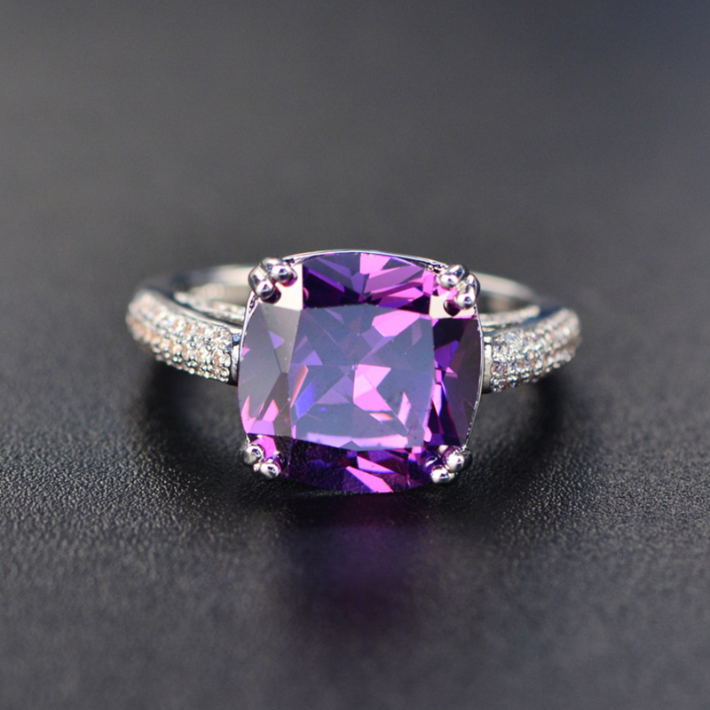 Stress Relief Cushion-Cut Ring