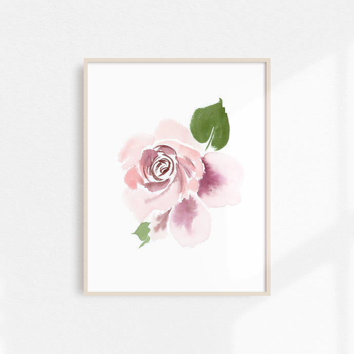 Watercolor Rose Print Large