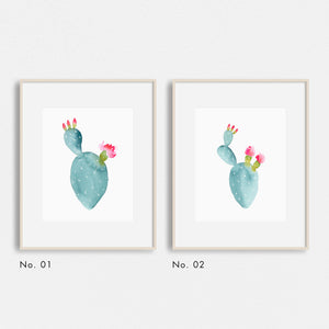 Watercolor Flowering Cactus Print Set