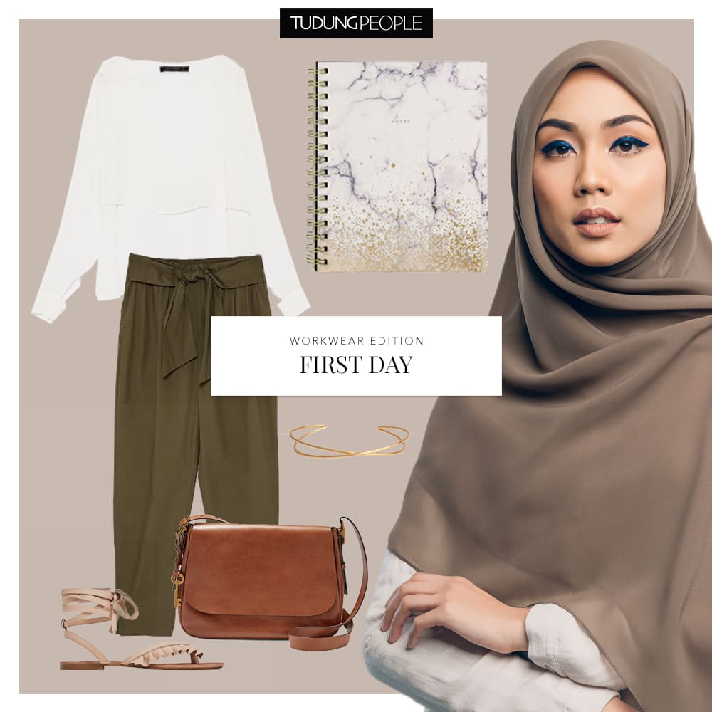 Nisa Muddy square hijab - Tudungpeople workwear stylefile