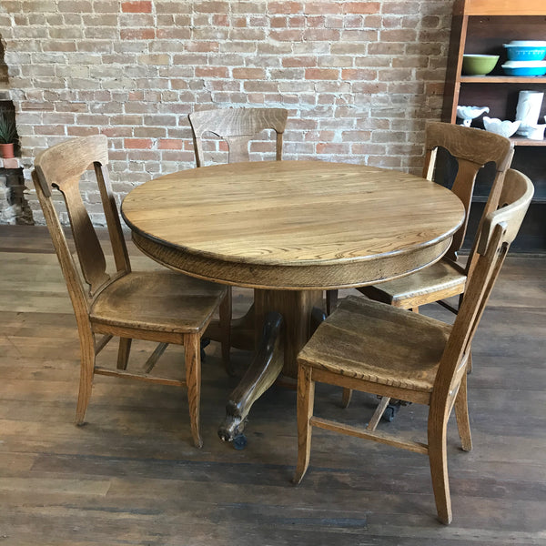 Claw Foot Round Oak Table and 4 Chairs