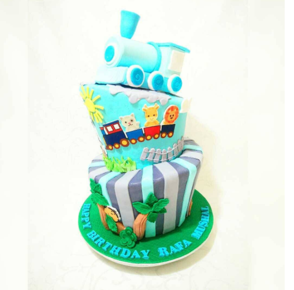 Topsy Turvy Train Cake