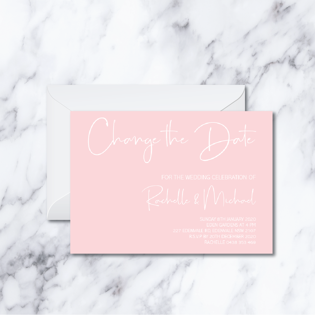 CANDY PINK CHANGE THE DATE CARD